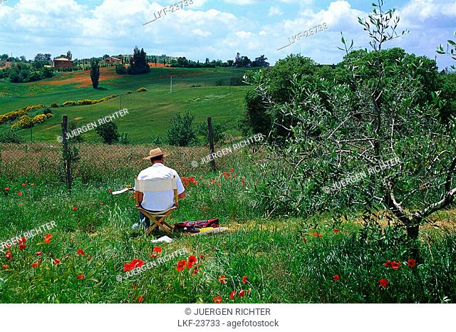 Landscapist, typ. landscape, near Montepulciano Tuscany, Italy
