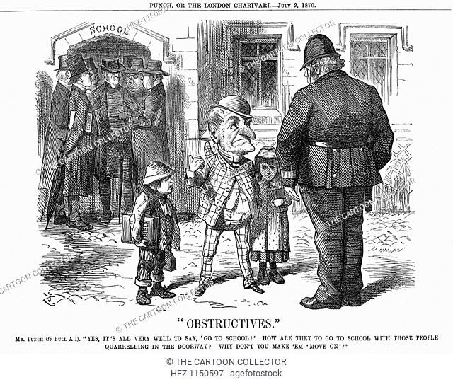 Obstructives, 1870. In the doorway of the school, a variety of Ministers and Nonconformists argue, whilst Mr Punch tells Policeman Bull that this prevents the...