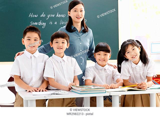 Teacher with elementary school students