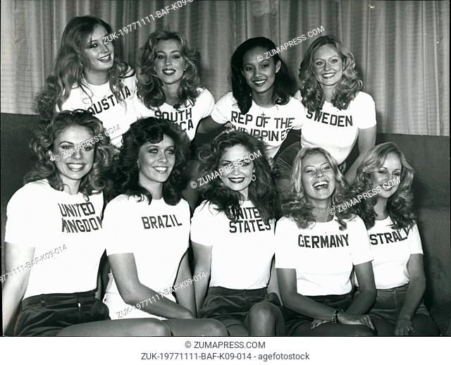 Nov. 11, 1977 - Photo Call For Miss World Contestants: A photo call was held yesterday - at the Lyceum ball room in the Strand for all the contestants of the...
