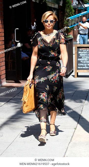Yeardley Smith goes shopping in Beverly Hills wearing a summer floral patterned dress and then picks up her dry cleaning Featuring: Yeardley Smith Where: Los...
