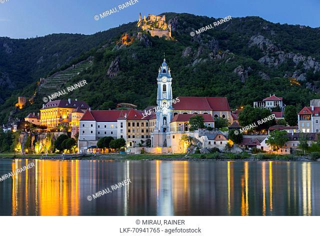 Monastery D³rnstein, blue tower, Wachau, Danube, Lower Austria, Austria