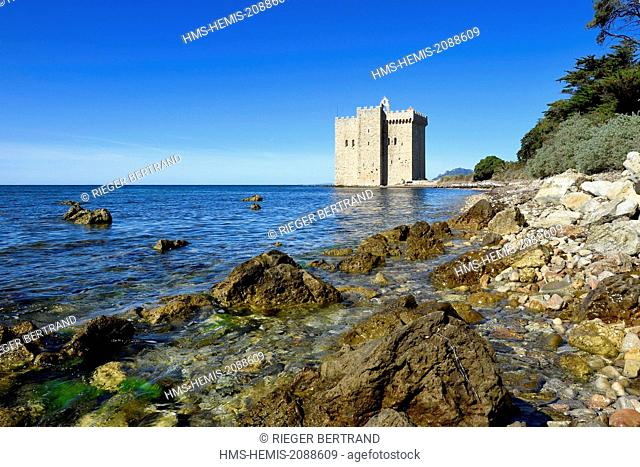 France, Alpes Maritimes, Lerins Islands, Saint Honorat island, Abbey of Lerins, former fortified monastery raised in 1073
