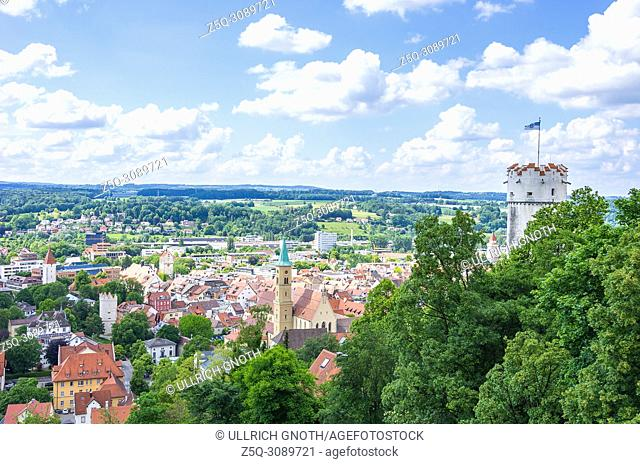 Ravensburg, Baden-Wurttemberg, Upper Swabia, Germany - View from Veitsburg Castle over the Old Town