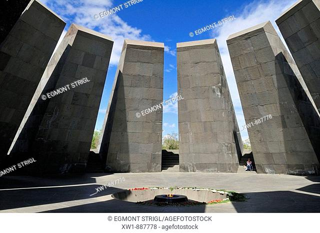 Armenian Genocide Memorial Tsitsernakaberd with eternal flame, Yerevan, Armenia, Asia