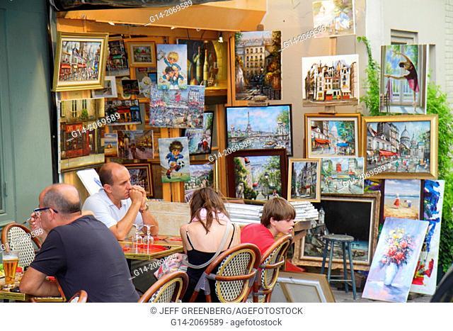 France, Europe, French, Paris, 18th arrondissement, Montmatre, Place du Tertre, restaurant, cafe, brasserie, tables, chairs, customers, alfresco, art gallery