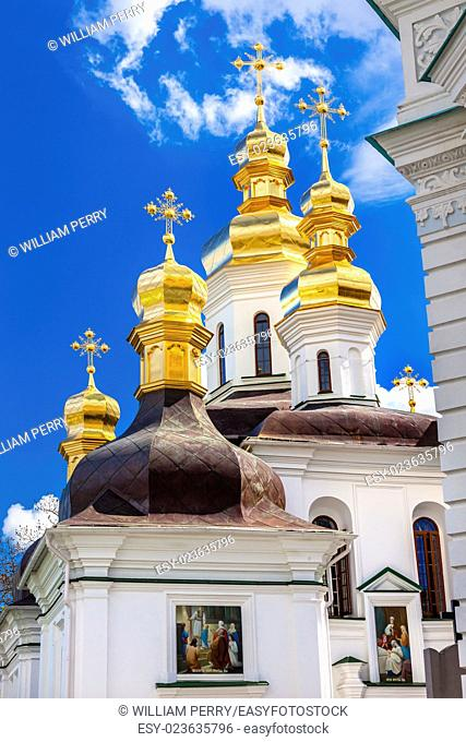 Ornate Crosses Gold Domes Church Birth Blessed Virgin Holy Assumption Pechrsk Lavra Cathedra Kiev Ukraine. Oldest Ortordox Monastery In Ukraine and Russia