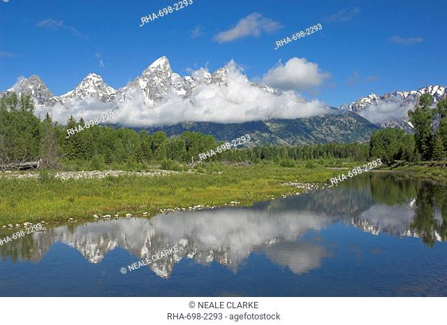 The Cathedral Group of Mount Teewinot, Mount Owen and Grand Teton from the Snake River at Schwabacher's Landing, Grand Teton National Park, Wyoming