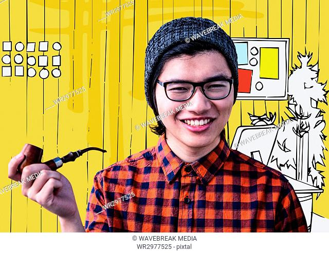 Millennial man with pipe against yellow hand drawn office
