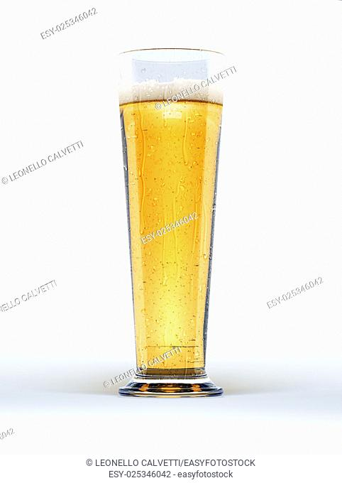 Tall glass of lager beer with condensation droplets, on white background