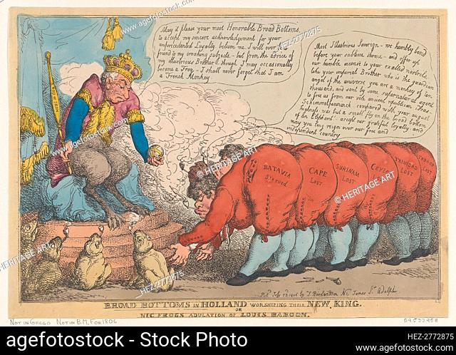 Broad Bottoms in Holland Worshiping Their New King, July 23, 1806., July 23, 1806. Creator: Thomas Rowlandson