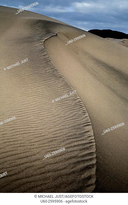 Shifting patterns and lines of sand at the Eureka Dunes at Death Valley National Park, California