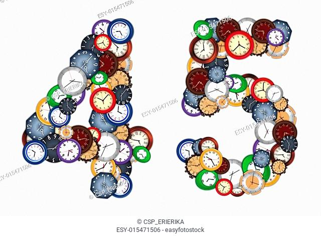 Numbers 4 and 5 made of various clocks