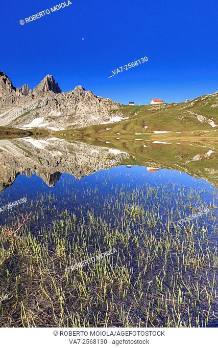 View from Laghi dei Piani of Refuge Locatelli and Mount Paterno. Sesto Dolomites Trentino Alto Adige Italy Europe