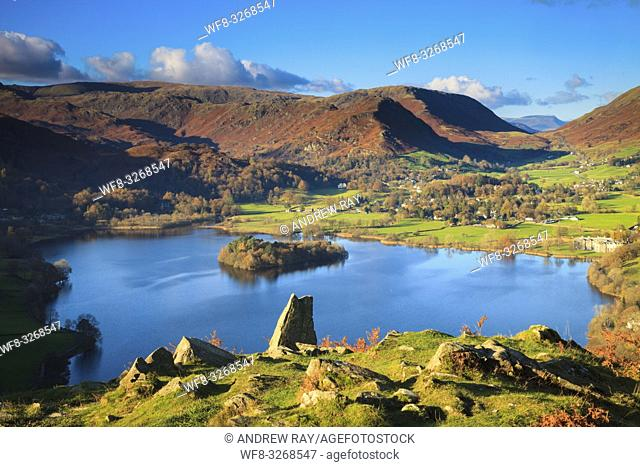 Grassmere in the Lake District National Park, captured from the north side of Loughrigg Fell on an afternoon in early November
