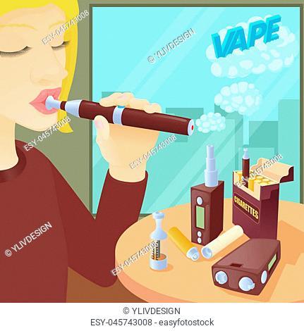 E-cigarettes concept. Cartoon illustration of e-cigarettes concept for web