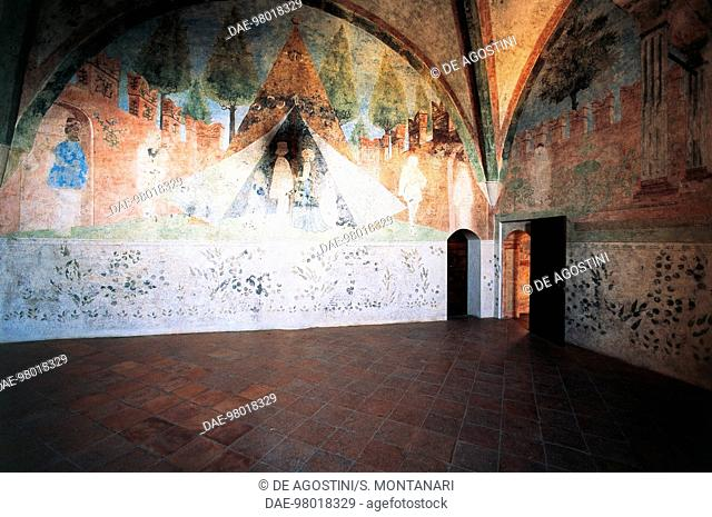 Two people in a large tent, late Gothic fresco of the hall of the pavilion, Vignola Fortress, Emilia-Romagna, Italy