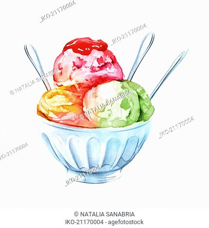 Bowl of ice cream with three scoops and spoons