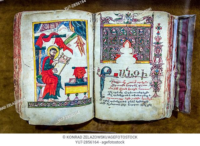 15th century hand written and decorated gospel in museum of Aramenian Apostolic Holy Savior Cathedral (commonly known as Vank Cathedral) in Isfahan, Iran