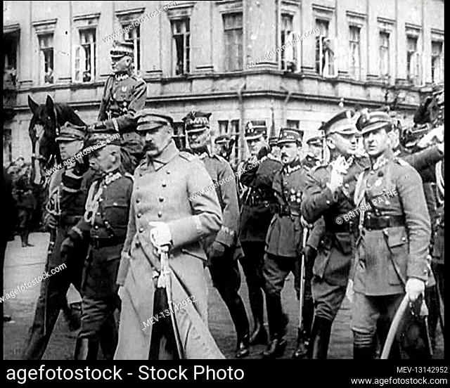 Marshall Jozef Pilsudski Reviewing Troops in Poland - Republic of Poland