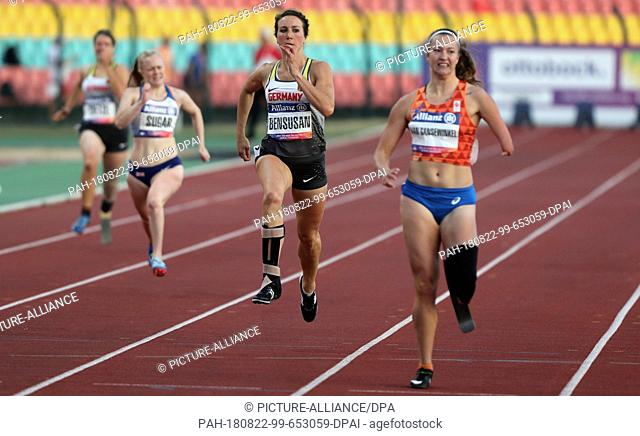 22 August 2018, Germany, Berlin: Disabled Sports, European Championships for Athletes in Jahn-Sportpark, 200 Meter, Women, T64