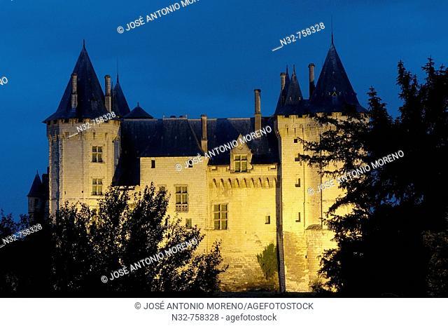 Saumur Castle (Chateau de Saumur) at dusk. Maine-et-Loire . Saumur. Loire Valley. France