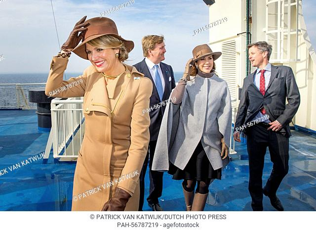King Willem-Alexander and Queen Maxima (front) of The Netherlands and Crown Prince Frederik (back) and Crown Princess Mary (back) of Denmark visit Samso Island
