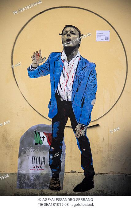 new murals of the street artist TVBOY representing a 'zombie Matteo Renzi' with the writing 'Italy alive, living dead', Florence 18/10/2019