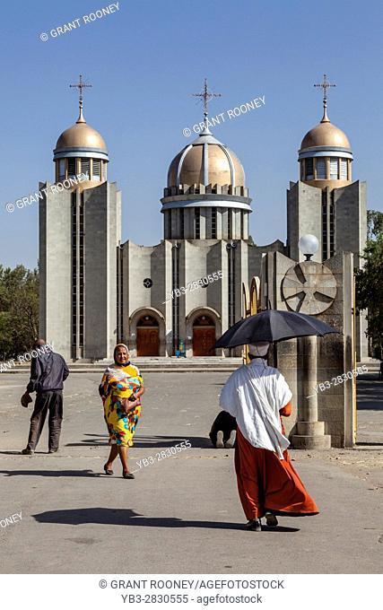 A Priest Walks Towards St Gabriel Ethiopian Orthodox Church, Hawassa, Ethiopia