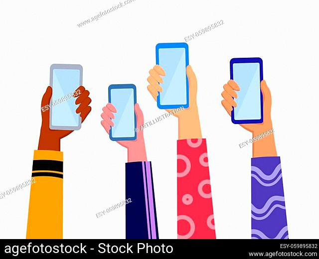 Hands holding smartphone wearing colorful cloth with online news content, group of people sharing news, announcement, promotion, news, advertising