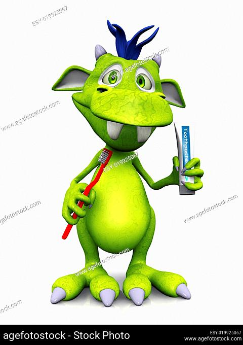 Cute cartoon monster holding toothbrush and toothpaste