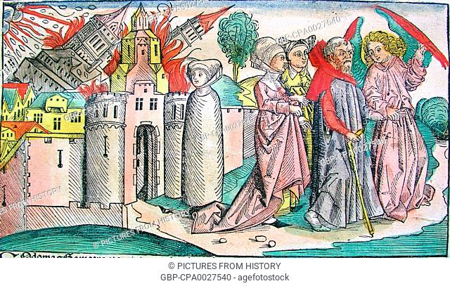 Germany: Lot leaving Sodom. Lot's wife, already transformed into a salt pillar, stands in the centre. Woodcut from the Nuremberg Chronicle by Hartmann Schedel