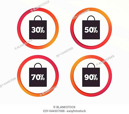 Sale bag tag icons. Discount special offer symbols. 30%, 50%, 70% and 90% percent discount signs. Infographic design buttons. Circle templates. Vector