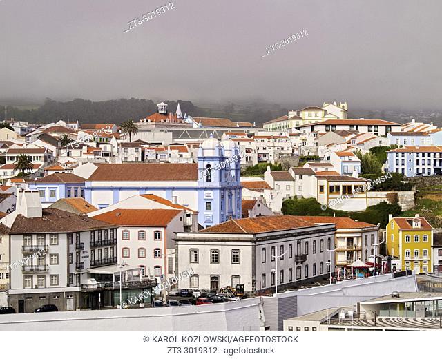 View towards the Misericordia Church, Angra do Heroismo, Terceira Island, Azores, Portugal