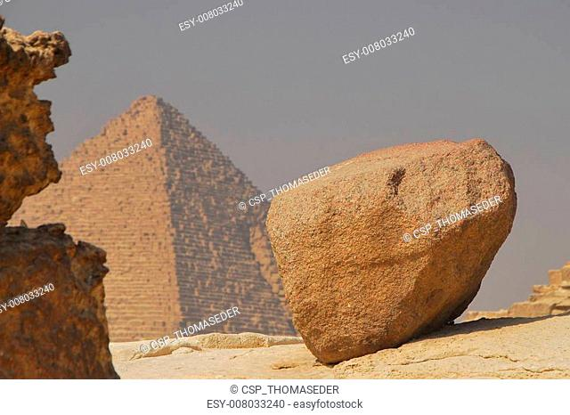 pyramid with a big stone