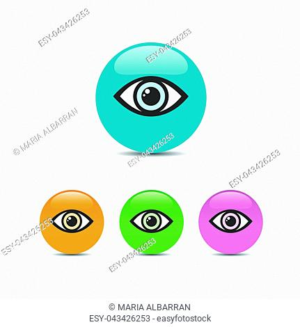 Eye icon set on a colored bubbles. Vector illustration