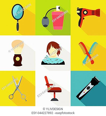 Barber icons set. Flat illustration of 9 barber vector icons for web