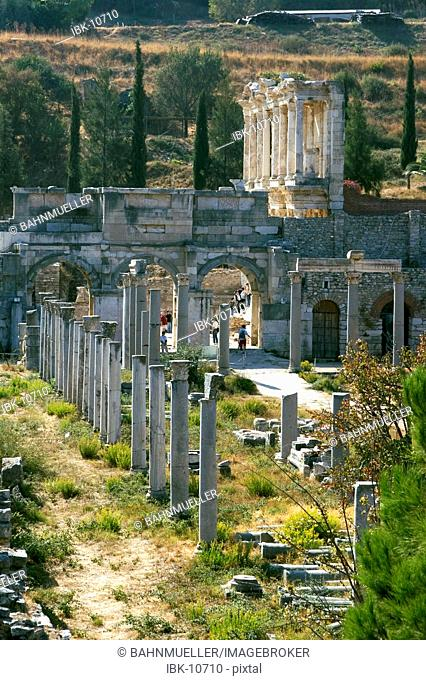 Turkey Ephesus excavation across the marble street to the library of Celsus