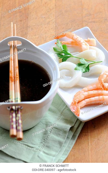 Chinese fondue spiced broth