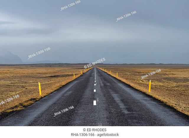 The Icelandic ring road with moody sky, South Iceland, Iceland, Polar Regions