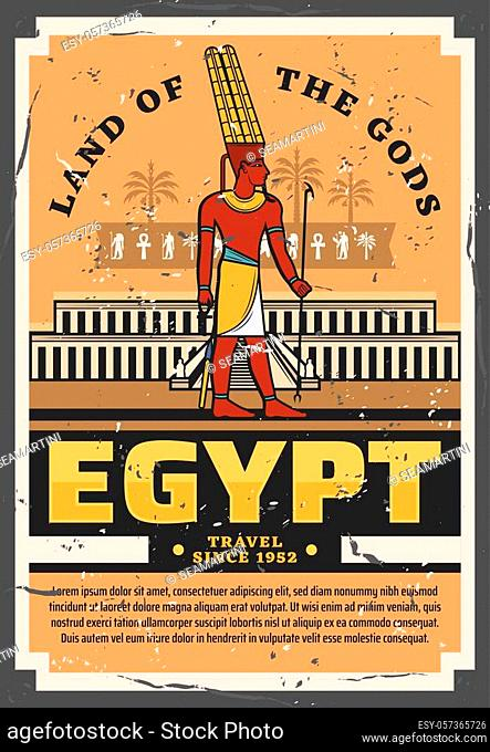 Egypt travel vintage vector poster with ancient egyptian pharaoh palace or temple religious building with hieroglyphs of ankh, horus eye and palms