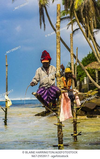 Stilt fishermen, Ahangama, Southern Province, Sri Lanka