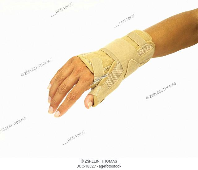 woman's wrist with orthosis