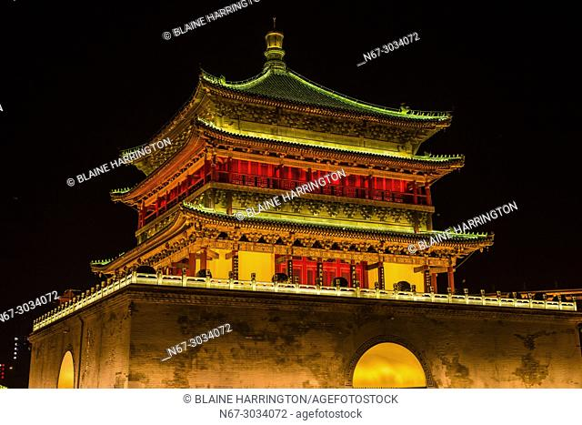 The Bell Tower, built in 1384 during the early Ming Dynasty, is a symbol of the city of Xi'an and one of the grandest of its kind in China