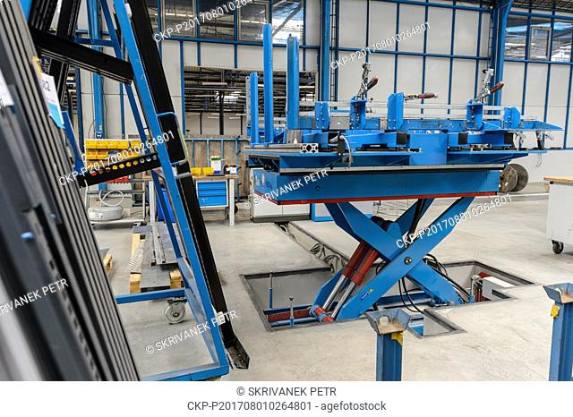 The ergonomic assembly table in a production hall of the Hauser company is seen in Kaplice, Czech Republic, on July 27, 2017