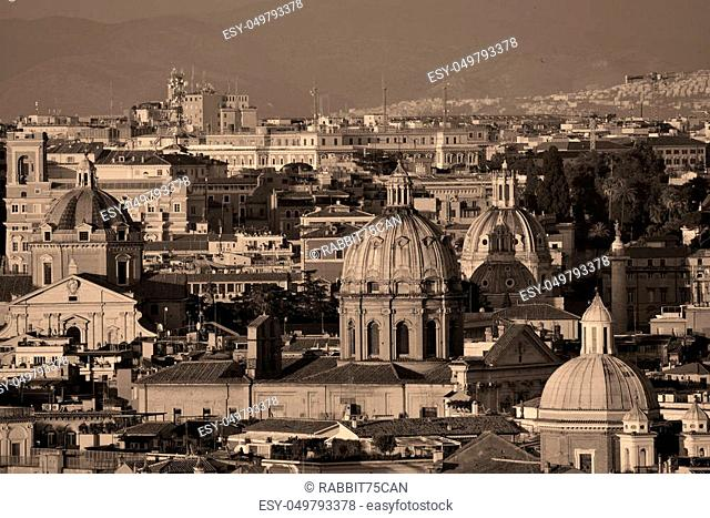 Rome rooftop view with ancient architecture in Italy at sunset moment