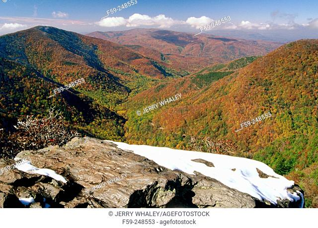 Autumn seen from the Chimneys Great Smoky Mountains National Park. Tennessee. USA