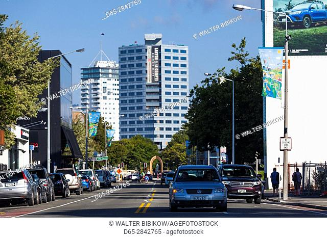 New Zealand, South Island, Christchurch, Victoria Street, view of Rendezvous Hotel and office tower damaged during 2011 earthquake