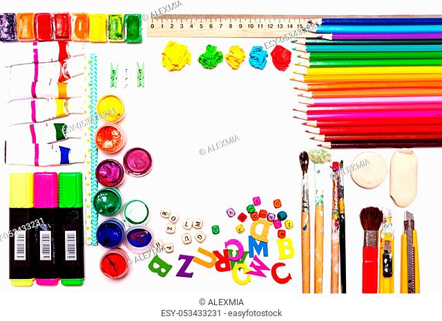 Worksheet of the artist, designer. Concept of art, creativity. The background of color paints, pencils, brushes