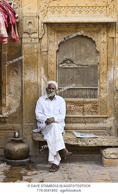 Teashop owner at the Patwa Haveli, Jaisalmer, Rajasthan, India